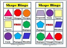 This fun Math Bingo Game helps children learn the names of 12 different 2D shapes