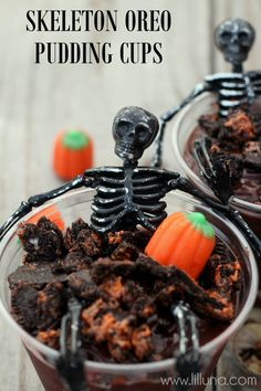Perfect for any Halloween Party!! Skeleton Oreo Pudding Cups ~ Says: They are so fun and easy to make and the Skeletons are only .25 each from Dollar Tree