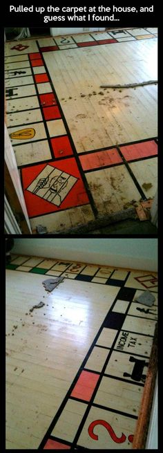 Surprise! A giant Monopoly board on the floor. A homeowner was left speechless when he took up his old carpet to discover a giant Monopoly board painted on the floorboards underneath.