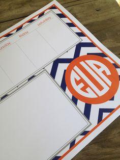 Chevron patterned custom padded weekly planner. $38.00, via Etsy.