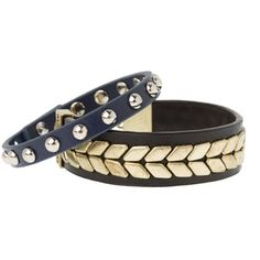 Armani Exchange Leather Studded Bracelet Set ($28) ❤ liked on Polyvore