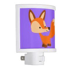 Cute Friendly Cartoon Fox Night Light #nightlight #cheerfulmadness #fox #cartoon #cute #kawaii #comics