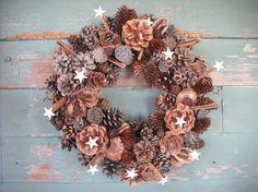 cinnamon wreath, christmas wreaths, birches, stick, pine cone, season, star, holidays, holiday decorating