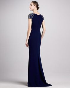 Jersey Gown with Beaded Cap Sleeves - Neiman Marcus