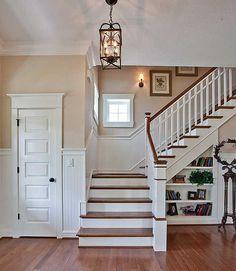 wood + white entry