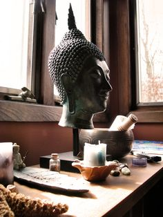 An altar with sacred objects and not too cluttered, just right.