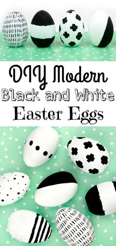 Today we are breaking all the rules and making DIY Modern Easter Eggs using black and white! Bye Bye pastels! If you are looking for a fun way to decorate this easter, give these DIY modern black and white easter eggs a try. Bonus- you can put them out again next year too. #Easter #eastercrafts #easterdecor #diy #eastereggs