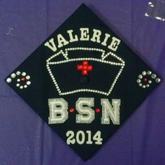 This is my #nursing #graduation #cap. I made a little nurse's cap with little rhinestones (took forever and lots of patience). It was a long process, but I love how it came out and that I can clearly see everything from afar. :D GO nursing class of 2014!!
