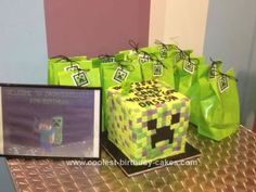 Homemade Creeper from Minecraft Cake: This Creeper from Minecraft Cake was for my son Dash's 9th birthday - he decided on a Minecraft theme. Minecraft is a computer game and everything is pixelated