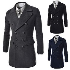 Slim Fit Men Fashion Double Breasted Wool Coat | Sneak Outfitters