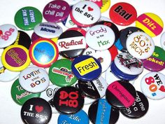 """Ten 80's Mix 1 Inch Pin Back Buttons 1"""" Pins"""