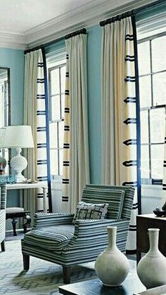 Love the detail on the drapes #window #windowtreatment #blueandwhite #window #treatment #ideas