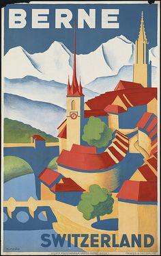 Berne, Switzerland vintage travel poster