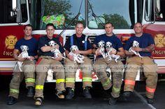 big burley firemen with dalmatian puppies by Nicole Taylor Photography www.nicoletaylorphoto.com