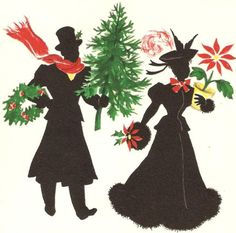 Lady and Gent Silhouettes Vintage Christmas Card