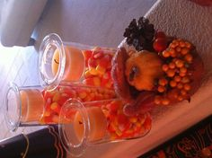 Partylite symmetry trio! I love Partylite! Great Halloween decor! Yummy Candy corn !
