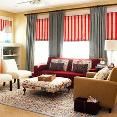 Combine primary colors in a grown up way! Here are more of living room decorating tips: http://www.bhg.com/rooms/living-room/family/living-room-decorating-ideas/?socsrc=bhgpin062414makeconversation&page=8