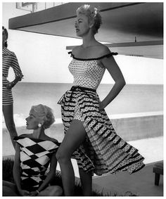 Bold harlequin pattern blouse by Renee Marciel and off-shoulder polka-dot bathing suit with striped and dotted skirt by Alix of Miami 1955