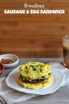 Breadless Sausage & Egg Sandwich