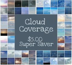 60 Cloud Coverage Overlays Various Sizes (These are not squared they