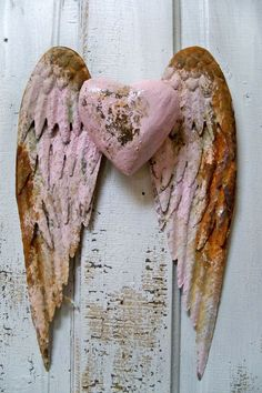 Metal angel wings wall sculpture shabby chic by AnitaSperoDesign, $100.00