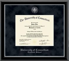 University of Connecticut - Graduate School Diploma Frame - Embossed Edition