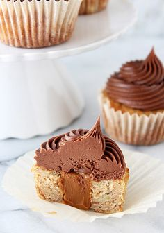 Dulce de Leche Stuffed Banana Cupcakes with Chocolate Cream Cheese Frosting