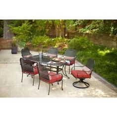 Hampton Bay Fall River 7-Piece Patio Dining Set with Dragon Fruit Cushions  $499