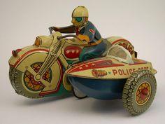 motorcycl, tin toy, vintag tin, antique toys, vintage tins, tin cans, old tins, vintage toys, vintag toy