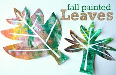 Easy and pretty fall leaf paintings for kids .