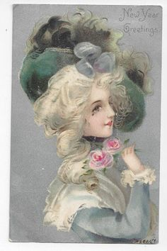 Antique New Years Post Card Victorian Lady with Roses on Silver Foil