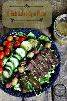 Greek Gyro Salad Plate like your favourite restaurant but at home. #restaurantDIY #mediterraneanfood @Deidre with Family's Rebecca Lindamood