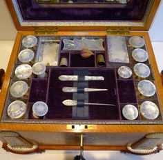 needlework box, antiqu sew, sewing box, london, boxes, ebay, satinwood sew, antiques, sew box