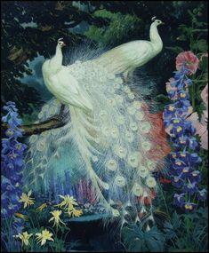 Jessie Arms Botke : White Peacocks & Hollyhocks 1935