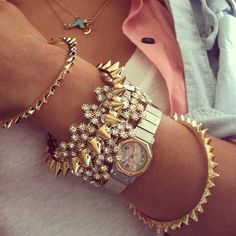 stacked bracelets, spike gold bracelet, bangl, accessori, watch, silver, bling bling