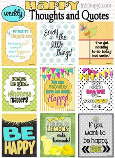 happy thoughts, happy quotes, happi quot, free printabl, printable quotes free