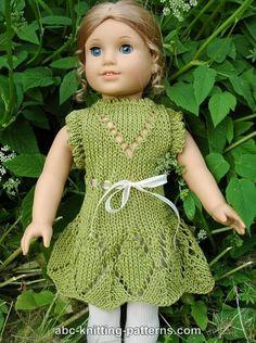 ABC Knitting Patterns - American Girl Doll Summer Lace Dress