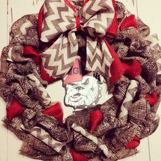 Camo red & Chevron GA bulldog wreath