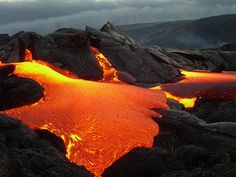 Lava Flow, Kilauea Volcano, Hawaii - The shortest word for Scrabble is 'aa (ah-ah)' - a Hawaiian word which refers to a type of rough and jagged volcanic rock formed by lava flow, or to the slowly flowing lava that produces such rocks