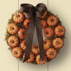 Fall pumpkin wreath! First posted on my blog that I am trying this in Sept! Just done pouring over W-S catalog! #pumpkins #fall #decor #wreaths #diy