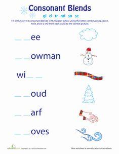Winter First Grade Phonics Spelling Worksheets: Consonant Blends: Winter