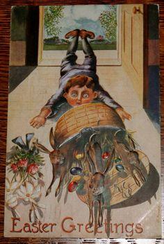 Vintage Easter Postcard Boy Trips Brown Bunny Bunnies H Horina Artist Postcard | eBay
