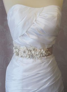 Champagne and Ivory Sash, Bridal Sash, Wedding Belt, Rhinestone and Pearl Flower Sash with Lace - GEORGETTE