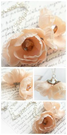 Romantic Fabric Flower Necklace - Peach Pink - Silver Chain - Shabby Chic - Pastel #valentines #love #pink #peach