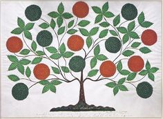 Hannah Cohoon (1788-1964), The Tree of Life, Hancock, Massachusetts, 1854, Ink and tempera on paper, 18 1/* x 23 5/16 inches. (Andrews collection, Hancock Shaker Village)