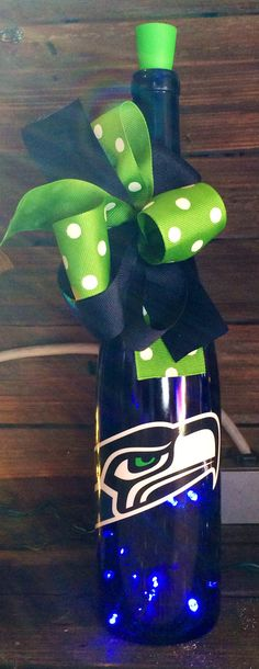 Seattle Seahawks Lighted Wine Bottle by BottlesbyJanice on Etsy, $30.00
