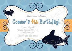 Custom Shark Birthday Invitation. $9.95, via Etsy.