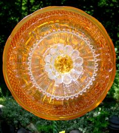 Hand painted depression glass platter, crystal plate and candle holder with faux gem inserted in center.