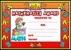 "FREE DOWNLOAD:  ""Mathematics Award Certificate.""  Use this free award certificate to recognize your students' hard work, achievement, or improvement in math.  Download this free math award certificate on Unique Teaching Resources:  http://www.uniqueteachingresources.com/Math-Teaching-Resources.html  (FREE!)"