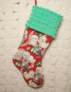 Sweet Retro Kitties Christmas Stocking with Vintage Chenille Cuff